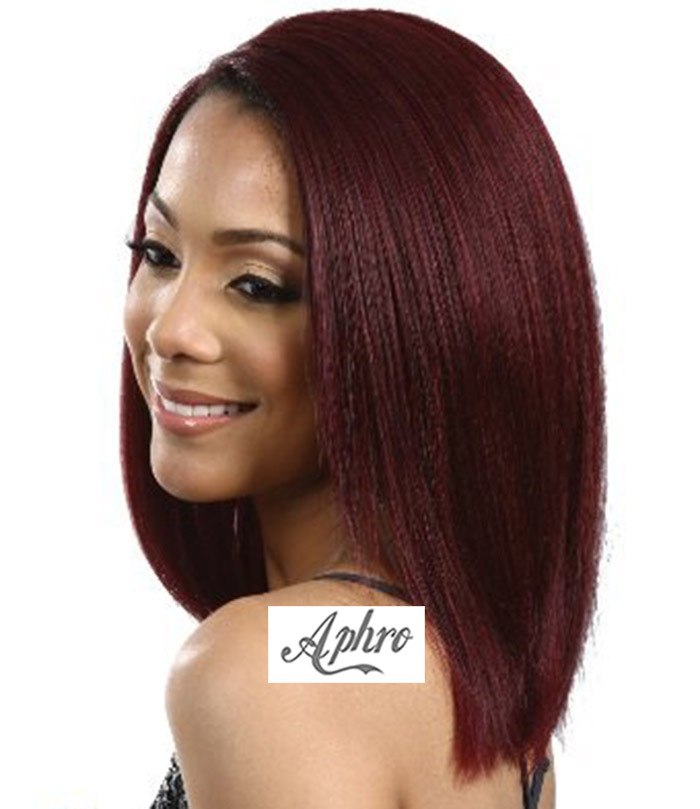 Hot Red Yaki Straight Synthetic Hair Lace Front Wig Heat Resistant 150%Density 12 inch 99J Bob Full - Aphro Beauty Shop No.1 store