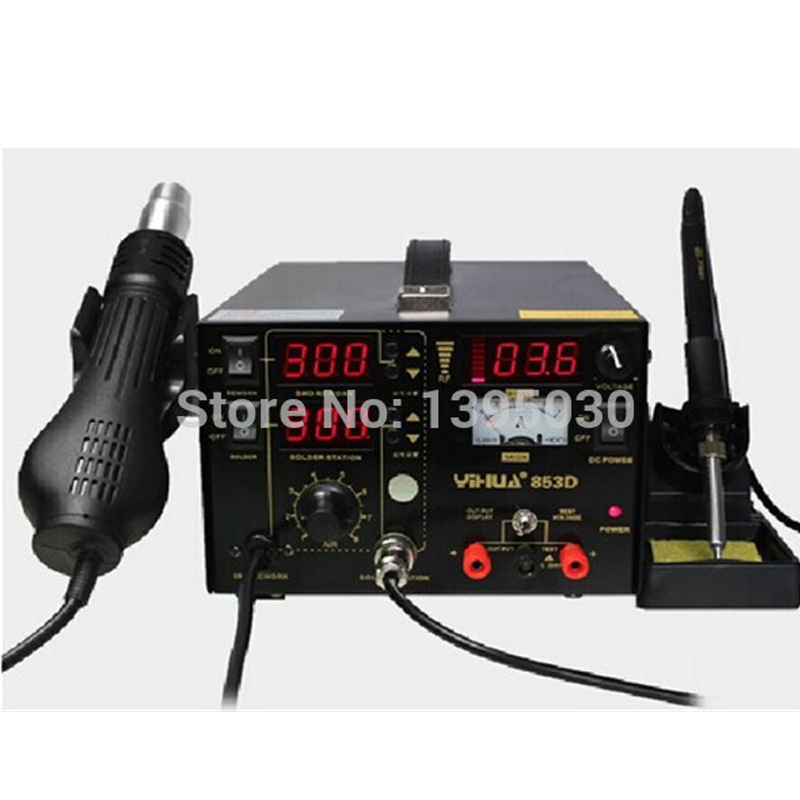 Multifunction SMD/SMT rework station hot air gun soldering iron DC power supply 3in1 YH-853D, welding machine, soldering station esd safe aoyue 768 repairing system digital display hot air gun soldering station mobile dc power supply 3 in 1 system