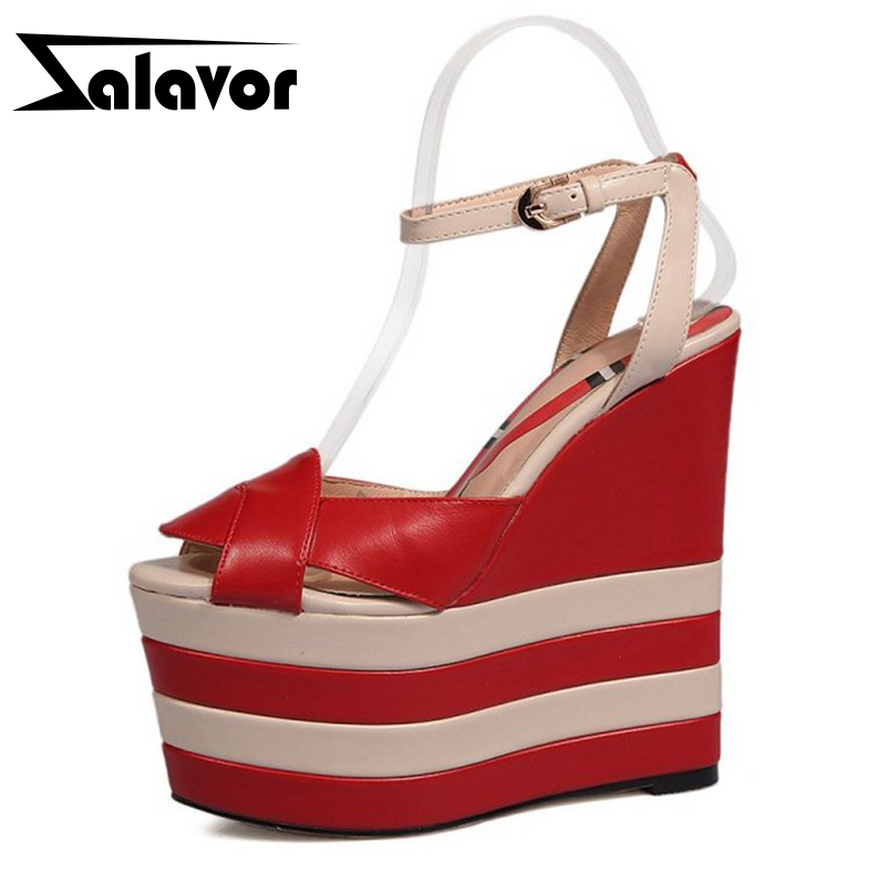ZALAVOR Women High Wedges Sandals Real Genuine Leather Ankle Strap Shoes Woman High Platform Summer Woman