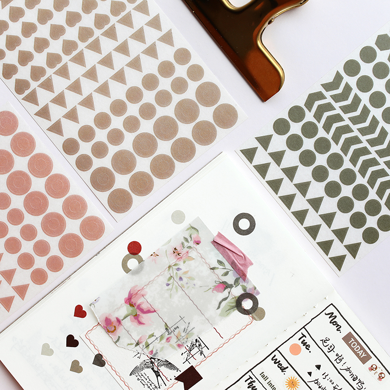 Japanese Vintage Solid Color Journal Stickers Scrapbooking Planner Label Decoration Stationery Sticker Bullet Journal Supplies