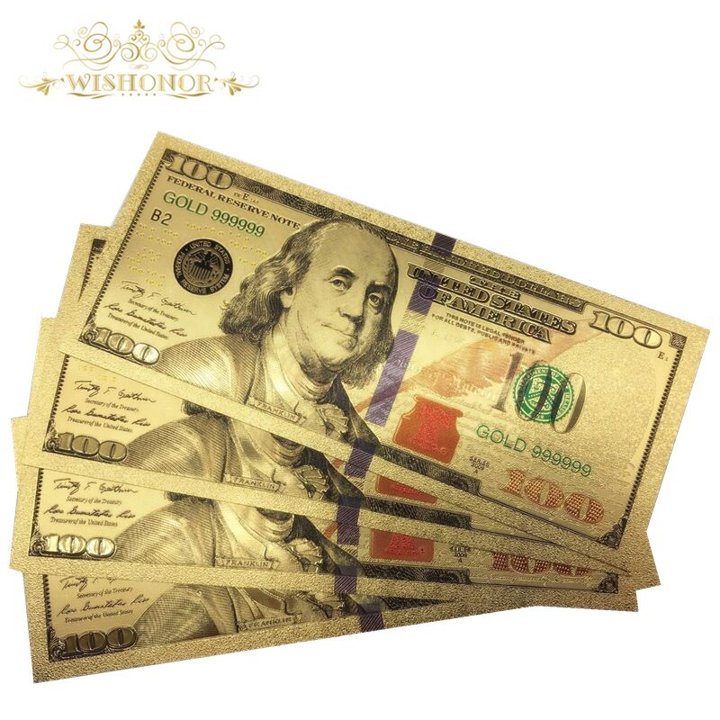 7 PCs Banknotes Ancient Collection Paper Dollars Antique Gold Plated Money Hot