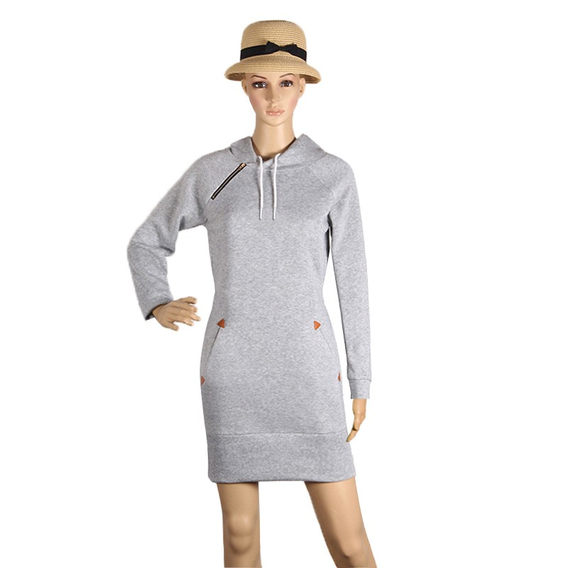 Warm Winter High Quality Hooded Dresses Pocket Long Sleeved Casual Mini Dress Sportwear Women Clothings LX130 8