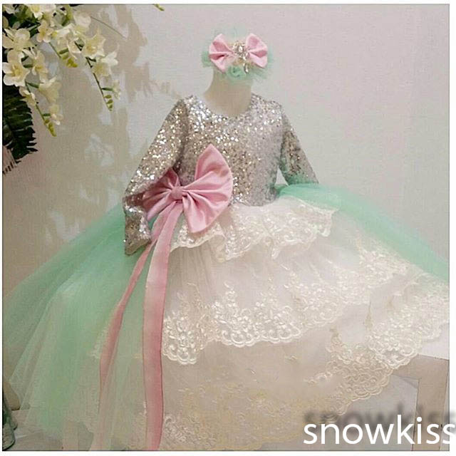 2016 new beautiful long sequined sleeves scoop neck lace appliques tiered ball gowns with bow sash lovely communion kids dress