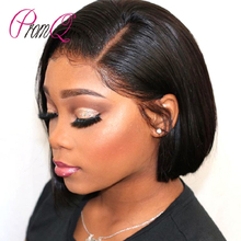 PromQueen Lace Front Human Hair Wigs Short Bob Wig With Baby Hair Closure Cheveux Humain Tete A Perruque Femme Free Fhipping(China)