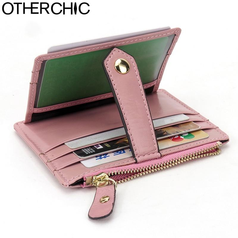OTHERCHIC Genuine Leather Mini Credit Women Card Holder