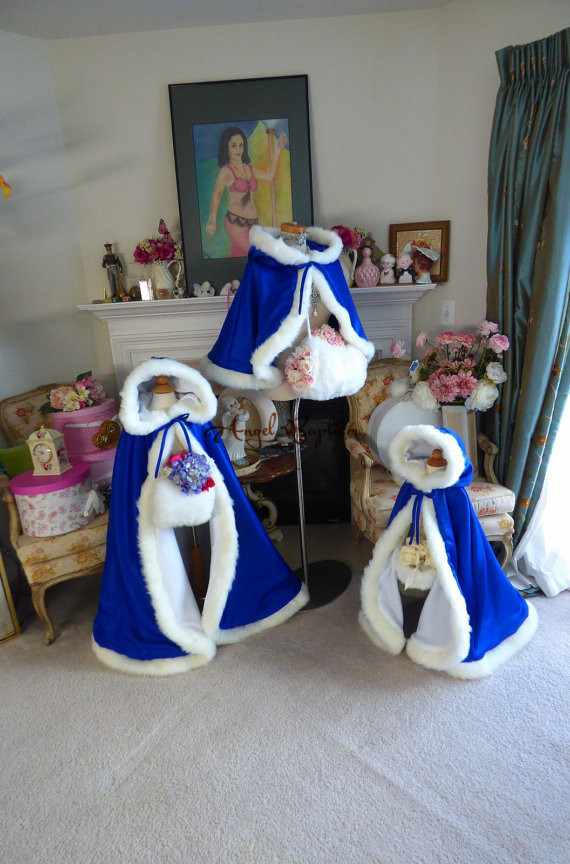 Blue flower girl faux fur cape child kid winter jacket hooded wrap bolero with hand muff evening prom coat outwear cloaks long white flower girl faux fur cloaks cape kid winter thick satin jacket hooded wrap bolero wedding coat outwear with hand muff