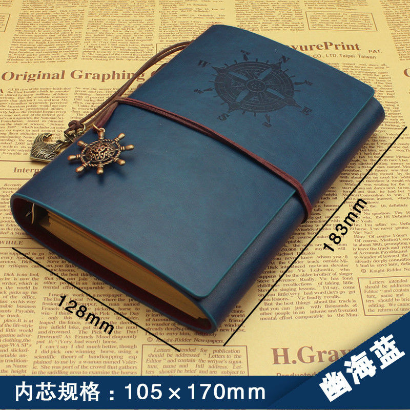 Classic Vintage Notebook PU Leather 2017 New Design Retro Daily Menos Navy Color NoteBook Travel Note School /Office Supplies classic notebook vintage