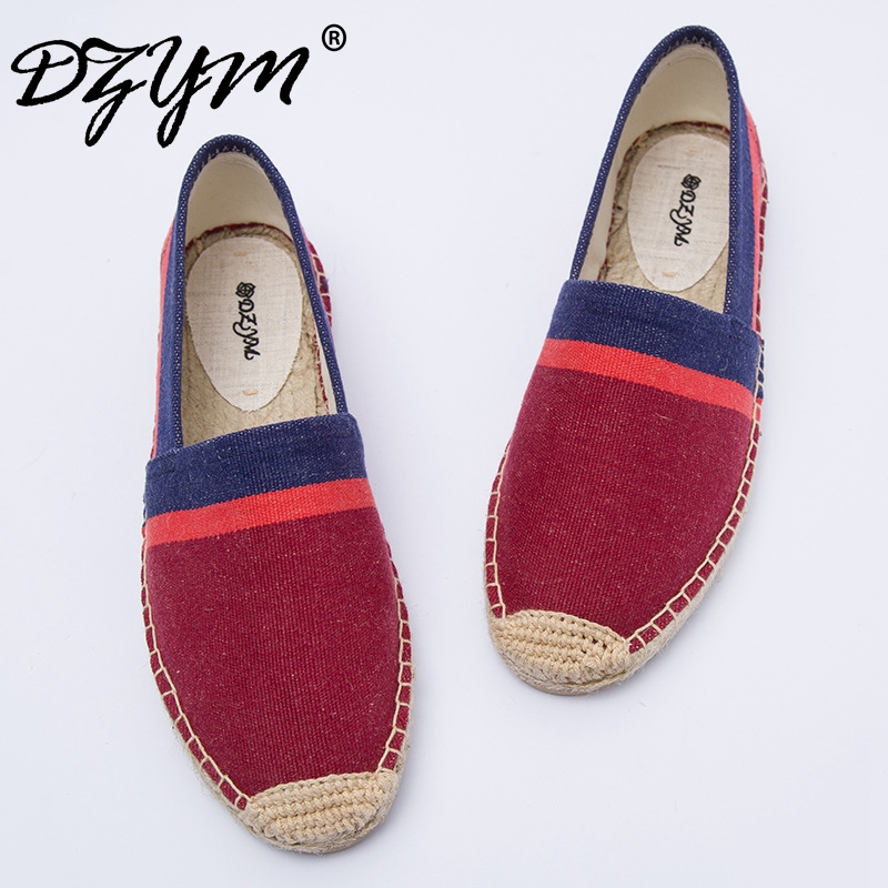 DZYM 2017 Linen Flats High Quality Handmade Women Canvas Shoes Sewing Breathable Leisure Mocassins Fisherman Shoes Zapatos Mujer the new straw linen canvas shoes men and women weave fisherman couple flats shoes