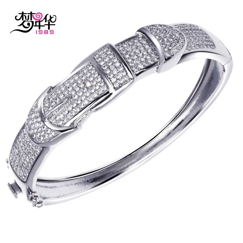 Dreamcarnival1989 Women s Belt Design Deluxe CZ Bangles Rhodium or Gold color Synthetic Cubic Zirconia Setting
