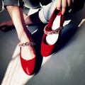 New women red pumps low-heel crystal bling rhinestone round toe sweet princess style solid causal work shoes fashion pregnant