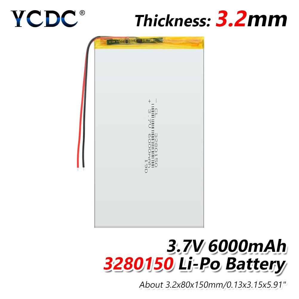 3280150 6000mAh Li-ion Lithium Polymer Li-polymer Battery For PSP Tablet DVD MID GPS E-book Power Bank 3.7V 3280150 Lipo Battery