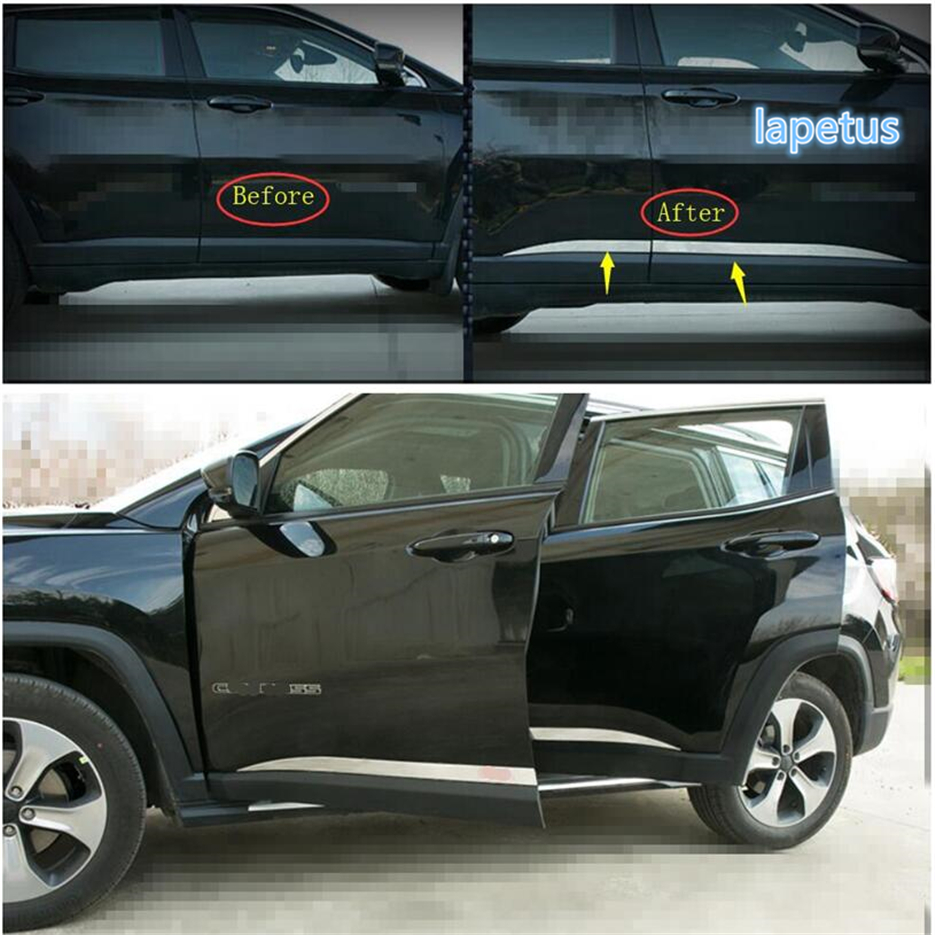 Lapetus Stainless Steel Side Door Body Molding Decoration Strip Cover Trim 4 Pcs / Set Fit For Jeep Compass 2017 2018 2019 2020