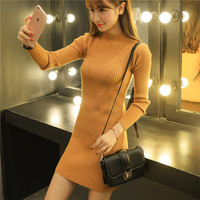 Spring Autumn High Necked Sweater Women S Pullovers Long Korean Slim Was Thin Solid Color Dress