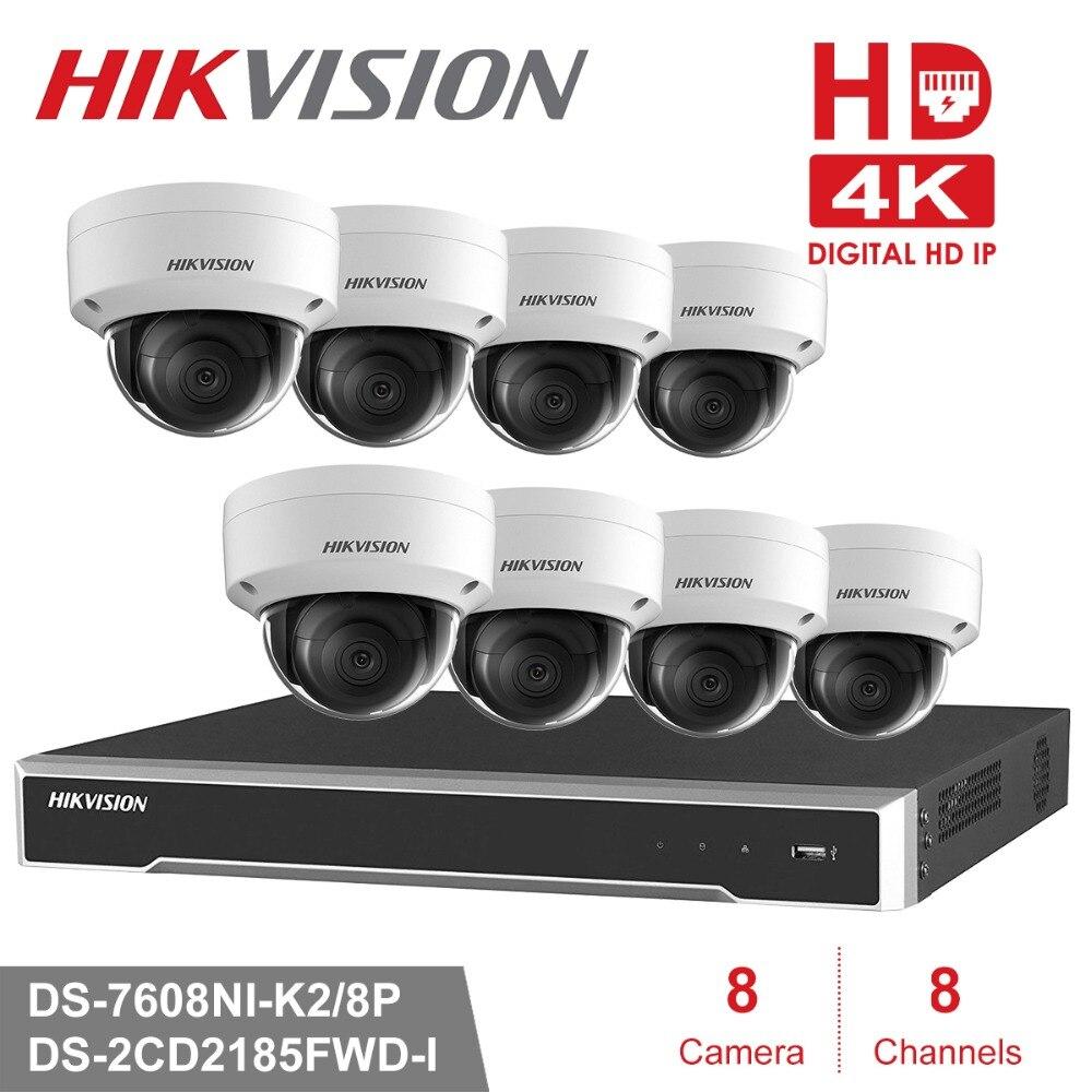 Hikvision CCTV Sistema de Câmera Sistema 8MP 8 Canal PoE NVR & 4 PoE Câmeras IP Dome Ao Ar Livre De Vigilância De Vídeo HD kit