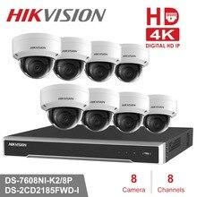 Hikvision видеонаблюдения Системы 8MP Камера Системы 8-канальный PoE NVR & 4 PoE IP Камера s Открытый Купол HD видео комплект видеонаблюдения