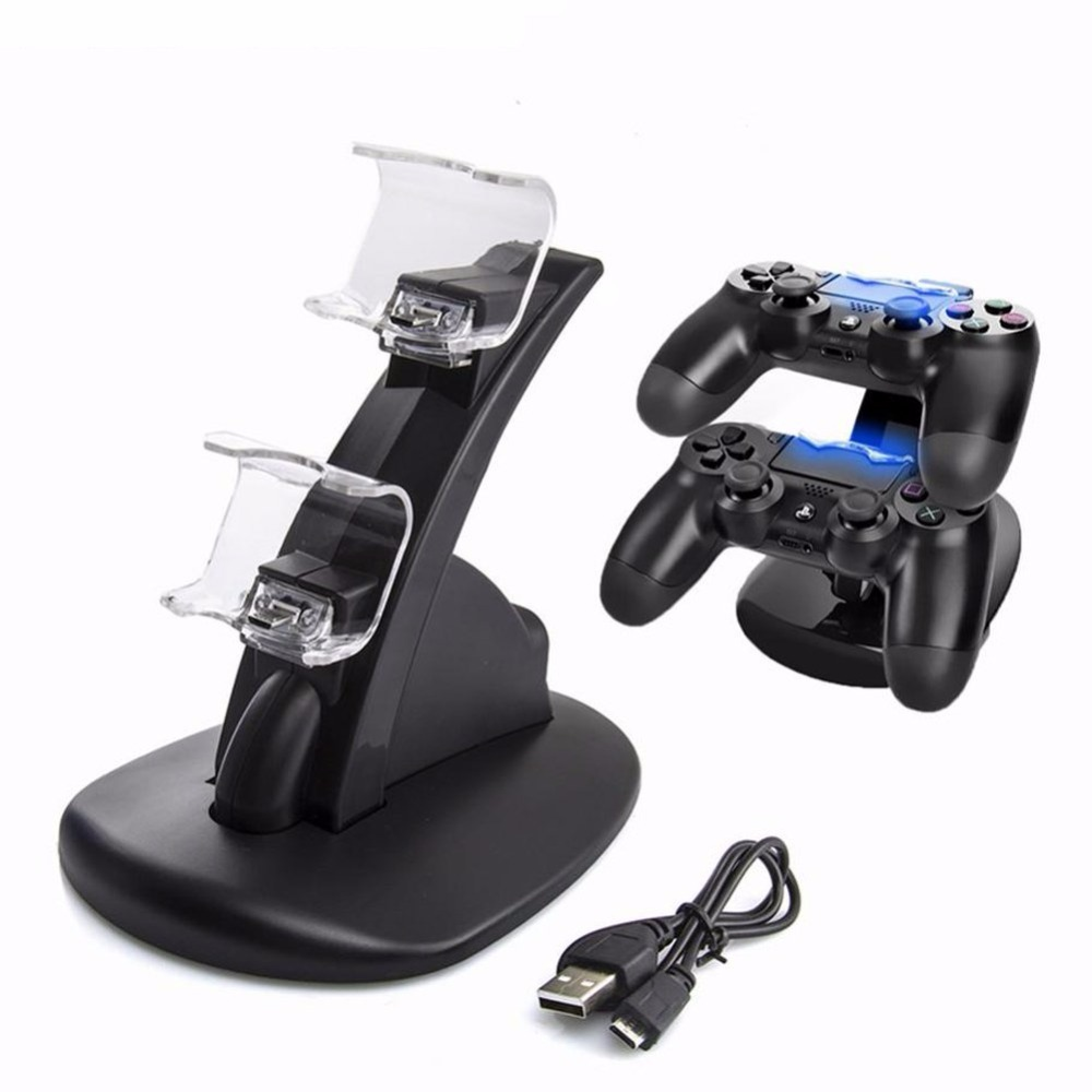 Dual USB Charge Dock For Sony Playstation 4 Controller Gamepad Handle Cradle Double Charging Charger For PS4 Games Accessories usb charger dock charging cradle for samsung gear fit2 pro sm r360 smart watch cable cord charge base station for fit 2 sm r360
