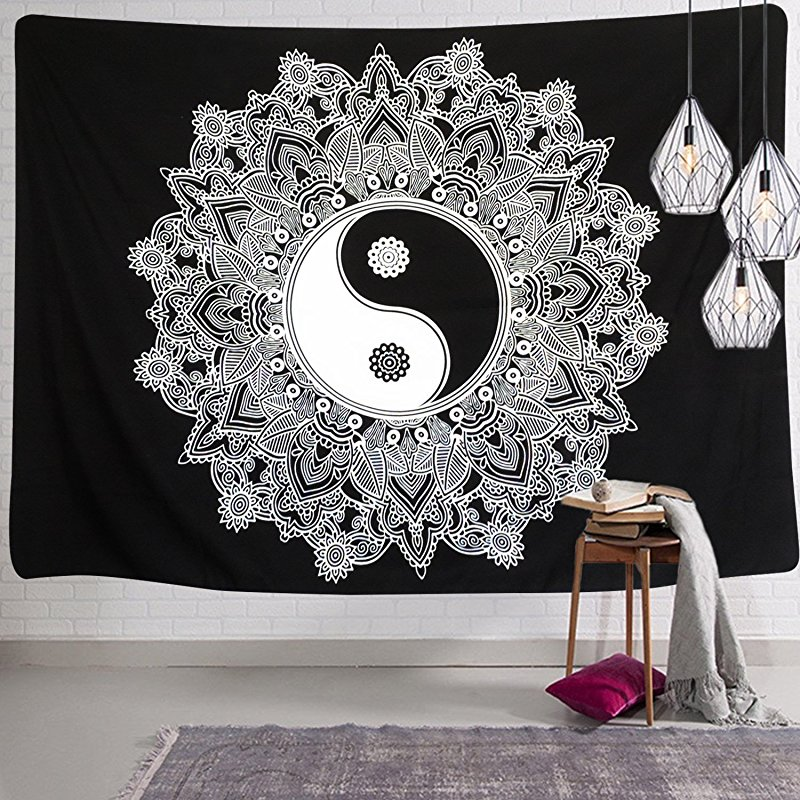 Black and White Tapestry Wall Hanging YinYang Tapestry Mandala Tapestry Indian Traditional Art Bohemian Tapestry Wall Hanging - B073DWKYJ7