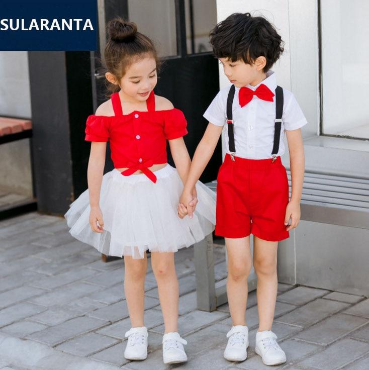 Children Cute Summer Korean Japanese Japan Student School Uniform for Girls Boys Shirt Tops Skirt Shorts Tie Set Clothes Outfits