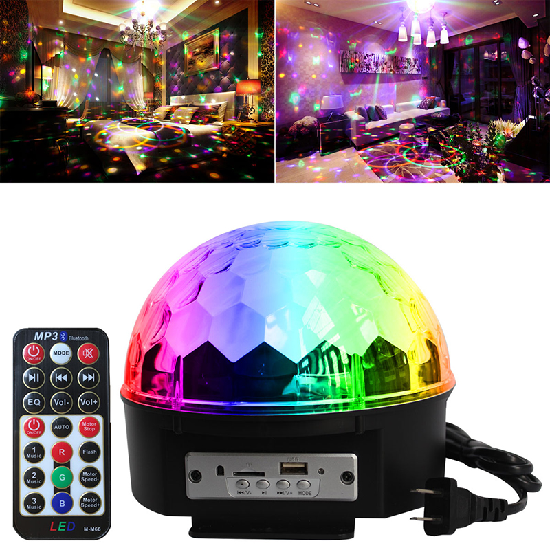 Bluetooth Remote Control Crystal Ball 9 Color LED Disco Ball Party Lights Sound Activated DJ Stage