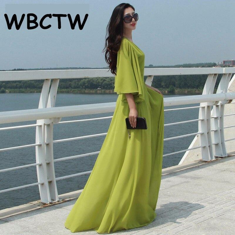 WBCTW Plus Size Dress 2018 Classical Long Maxi Vintage Butterfly Sleeve Elegant Chiffon Floor-length Casual Beach Dress long sleeve printed floor length plus size dress