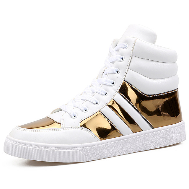 Hip Hop shoes Men spring fashion sneakers gold high tops Male black  Vulcanized shoes lace- 6cddcfb04dfd