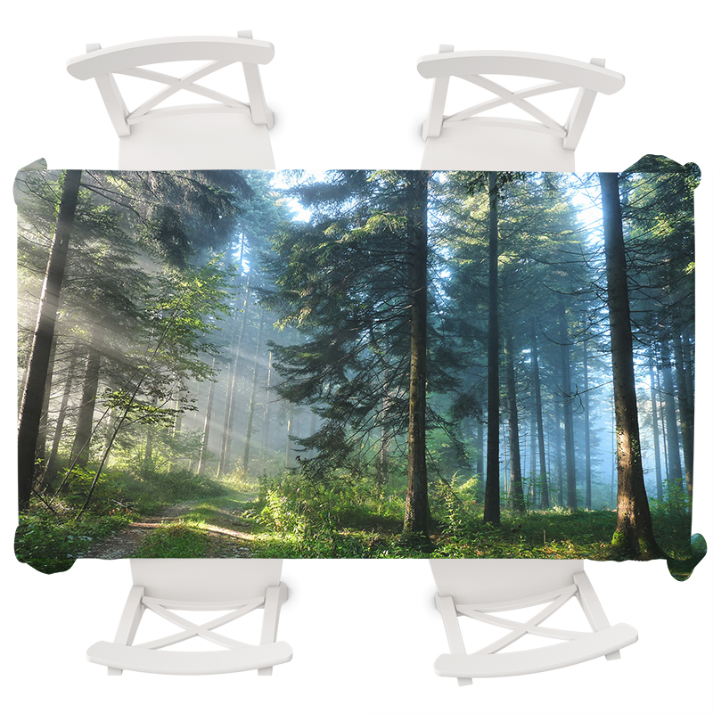 Natural Forest Print Round Tablecloth Party Table Waterproof Wedding Decoration Rectangular Cover