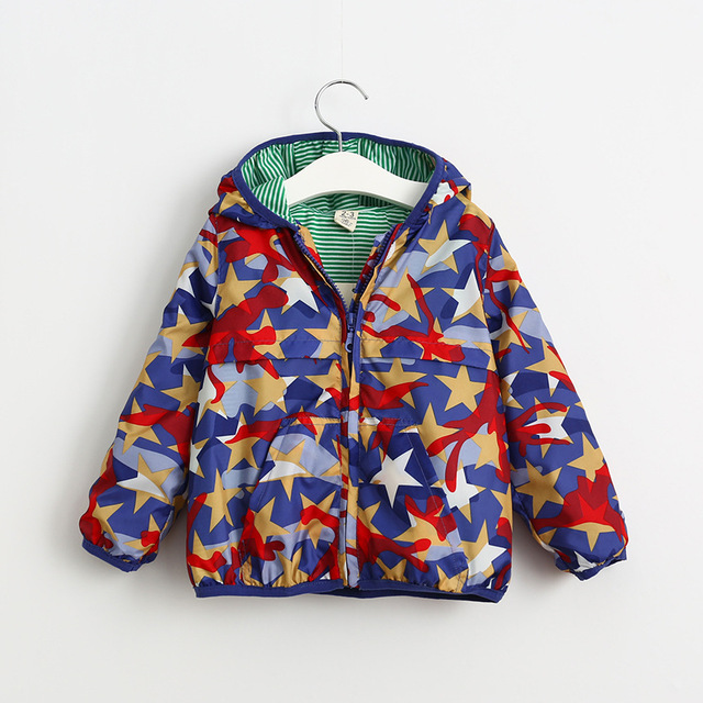 2016 Autumn Boys baby Leisure five-pointed star printing hooded jacket coat wholesale