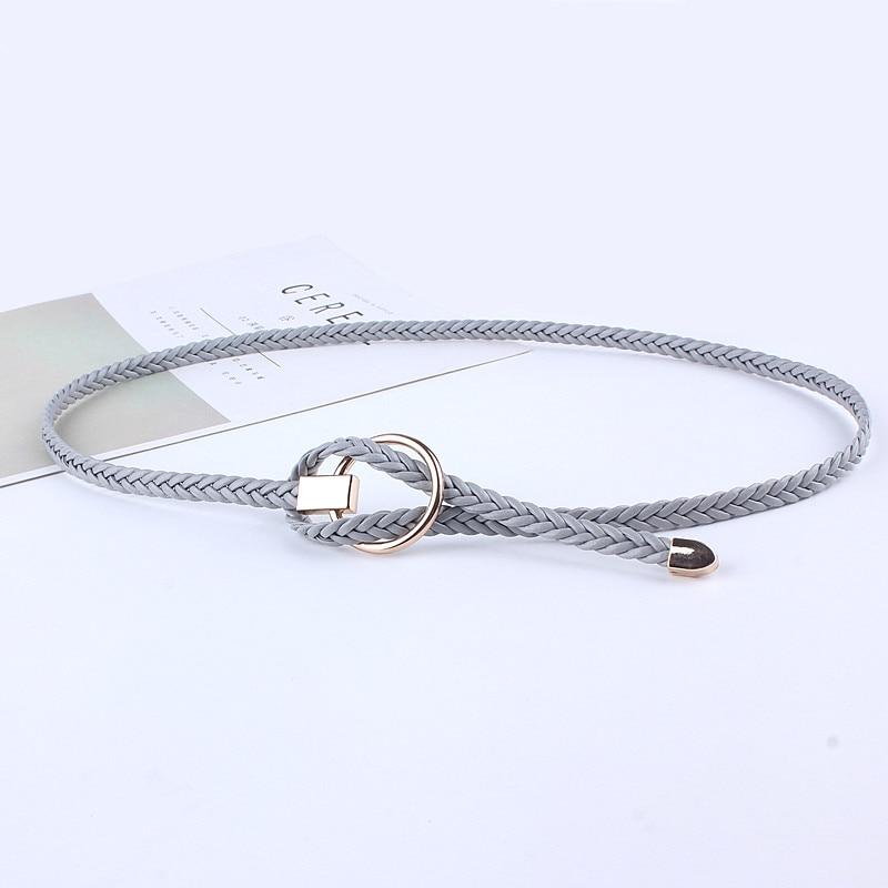 De cuero de moda de punto trenzado tejido de la cintura de la hebilla redonda cinturones para vestidos de las mujeres círculo cuerda de cintura casual de lujo