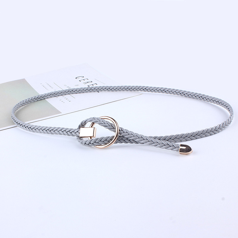 Fashion Leather Knitted Braided Weaving Waist Round Buckle Belts For Women Dresses Circle Waist Rope Casual Luxury