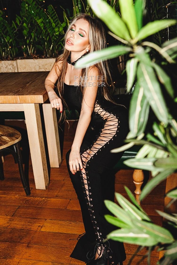 Côté rose Party Dentelle Up 2019 Bandage Noir Nouveau Robe Outre Creux Maxi Criss L'épaule Élégante blanc Celebrity Croix Été Sexy De Moulante g4xqFg0R