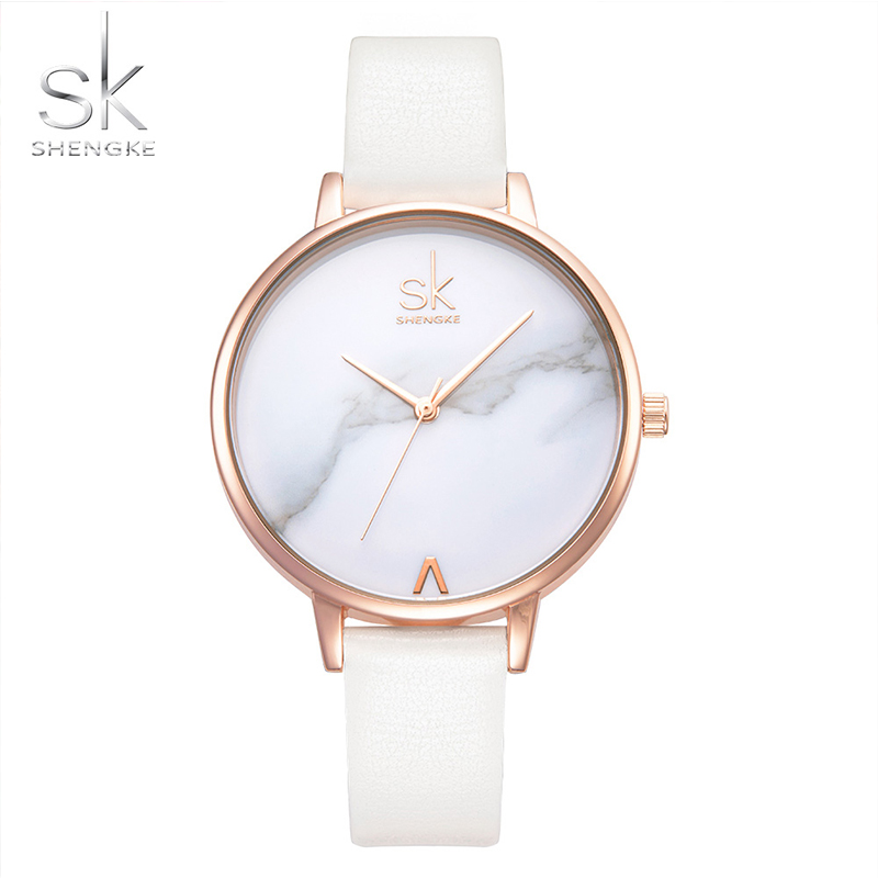 Shengke lady wrist watches fashion Dial SK Leather Strap White Watch Luxury Quartz Watch female Clock small Thin reloj feminino shengke top brand fashion ladies watches white leather marble dial female quartz watch women thin casual strap watch reloj muje
