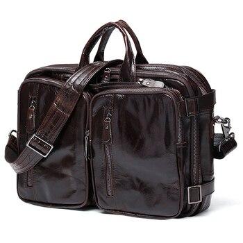 Luxury Genuine Leather Briefcase Men Briefcase Leather Business Bag Laptop Briefcase Tote Office Bag File Handbag Brown Black