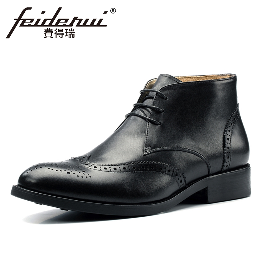 Plus Size New Arrival Genuine Leather Men's Carved Ankle Boots British Round Toe Formal Cowboy Riding Brogue Shoes For Man MLT35