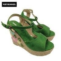 Yeni Arriver Yaz Süper Yüksek Kama Burnu açık Ayak Bileği Toka Askı Çiçek Tasarım Etnik Bayanlar Ayakkabı Streç Kumaş Yeşil Sandalet