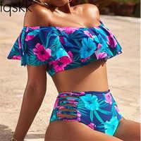 Sexy taille haute Bikinis femmes maillot de bain 2019 plus récent hors de l'épaule femme Push Up volants Bikini ensemble maillot de bain Biquini