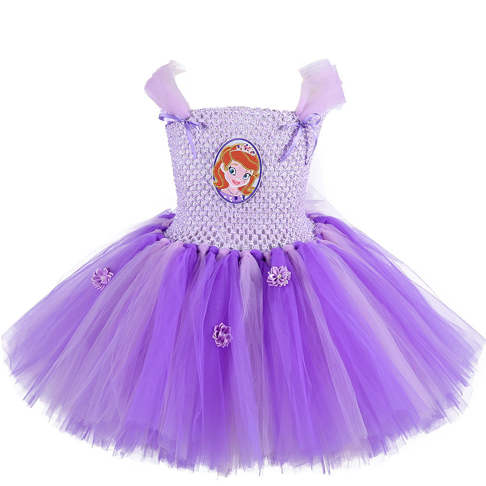 Kids Girls Birthday Party Wedding Princess Tutu Dress Baby Girl Clothes Sofia Elsa Lace Tulle Flowers Children Photography Dress light blue elsa dress girls princess dress kids wedding birthday party tutu dress tulle baby girl halloween cosplay elsa costume