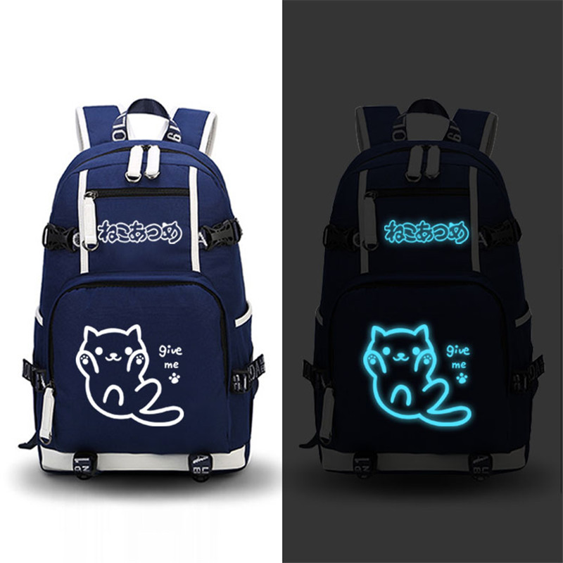 2017 New High Quality Hot Anime Neko Atsume Kawaii Cat Emoji Luminous Printing Military Backpack Canvas Women School Backpacks 1pc hight quality hot fashion unisex emoji backpacks 3d printing bags drawstring backpack nov 10