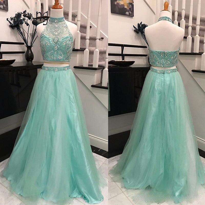 Turquoise 2019 robes De bal a-ligne licou Tulle perlé deux pièces fête Maxys longue Robe De bal robes De soirée Robe De soirée
