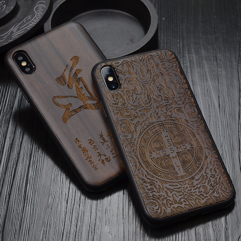 2018 New For iPhone XS Max Case Black Ebony Wood Cover For iPhone XS Carved TPU Bumper Wooden Case For iPhone X XR iPhone XS