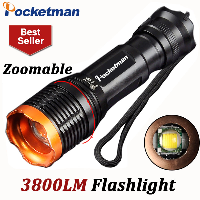 3800Lumens CREE T6 Led Flashlight Led Torch Zoomable Waterproof Tactical Flashlight 18650 lampe torche linternas Flash Light
