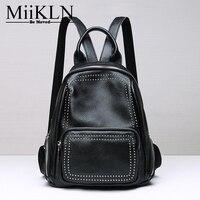 MiiKLN Women Backpack Genuine Leather Back Red Grey Fashion Design Ladies Travel Back Pack Rivet Backpack