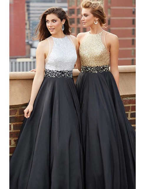 374b02d85f5b New Arrival 2016 Beaded Evening Dresses Sequins 2 Color Waist Beaded Ball  Gowns Formal Evening