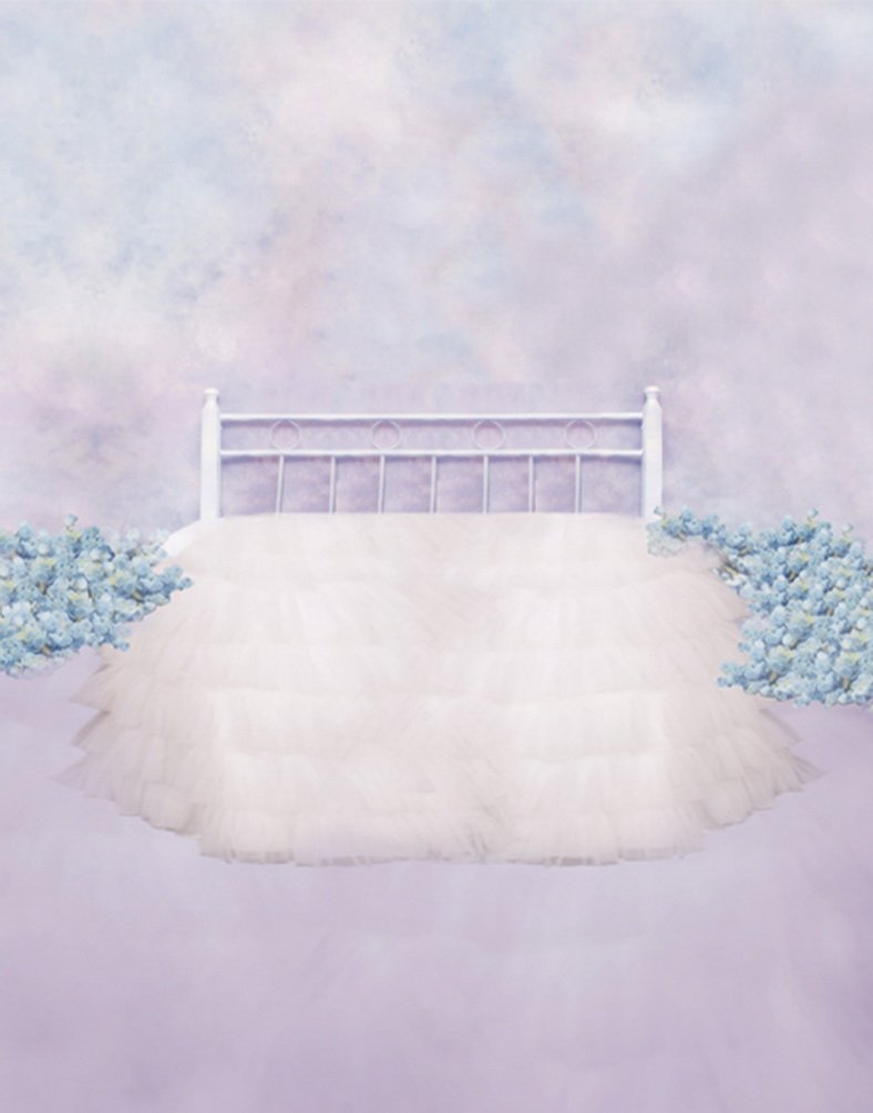 White Bed Blue Flowers Photography Backdrops Photo Props Studio Background 5x7ft