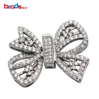 Beadsnice CZ Pave Buckle Bow Shape Sterling Silver Large Clasp Jewelry Making Accessories Handmade Necklace Findings
