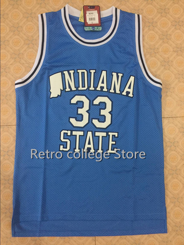 fccd6f675f1 Indiana State Sycamores LARRY BIRD  33 Throwback Basketball Jersey  Embroidery Stitched XXS-XXL
