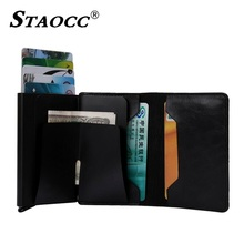 Купить с кэшбэком Business Credit Card ID Holder Magic Wallet Slim RFID Anti Theft Bus Card Driving License Card Case Money Clip Mininalist Wallet