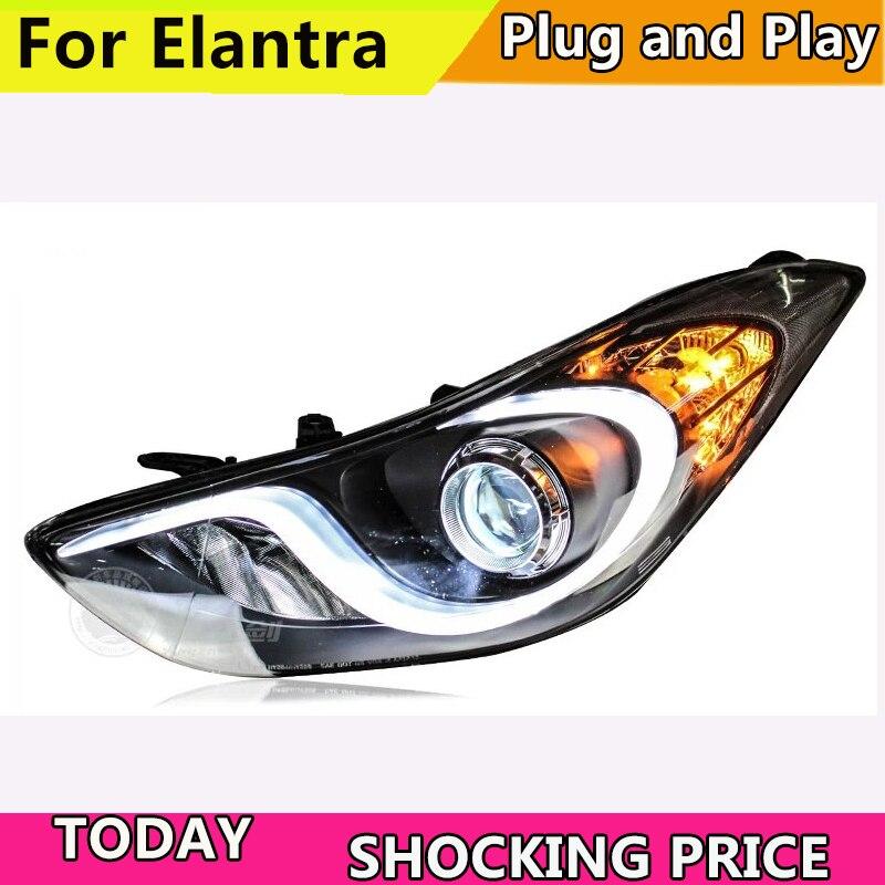 Car Styling Head Lamp For Hyundai Elantra headlights angel eyes 2012 2017 For Elantra head lamp