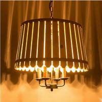 Art Pastoralism fence retro wooden chandelier for Parlor / Study / dining room / cafe / Bookstore E14