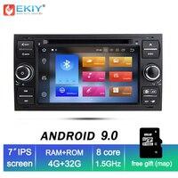 EKIY ips 4G Android 9,0 Автомобильный DVD навигационная система, стереомагнитола радио аудиоплеер для Ford Focus 2 Mondeo S C Max Fiesta Galaxy подключение мультимедиа