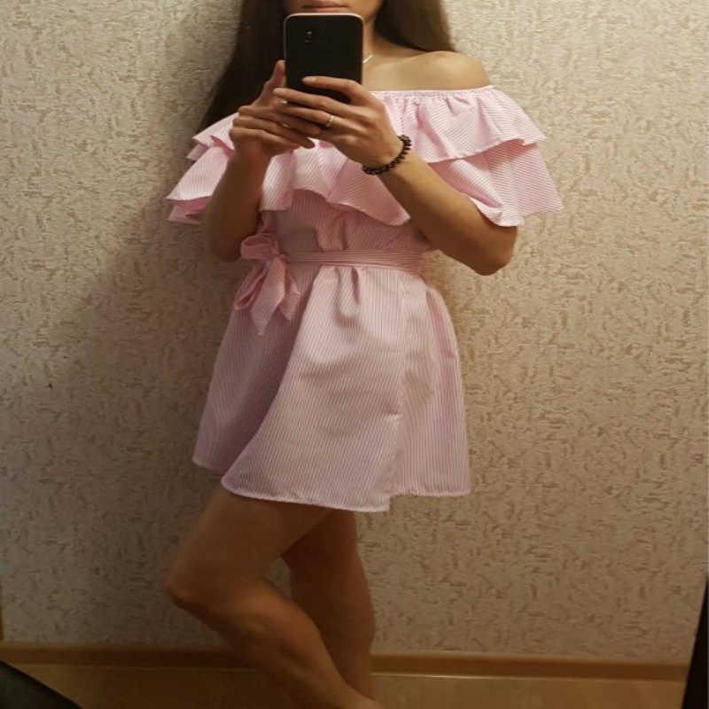 판매 드레스 여성 저렴한 옷감 줄무늬 새시 여름 드레스 프릴 칼라 붕대 Sundress 캐주얼 섹시한 Vestidos 드 페스타 OYM0304